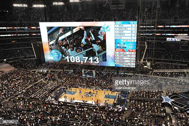 A picture on the jumbotron of a new world record for fans attending a basketball game of 108713 during the NBA AllStar Game as part of 2010 NBA...