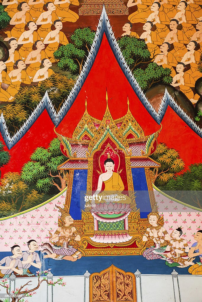 Picture on the wall thai temple : Stock Photo