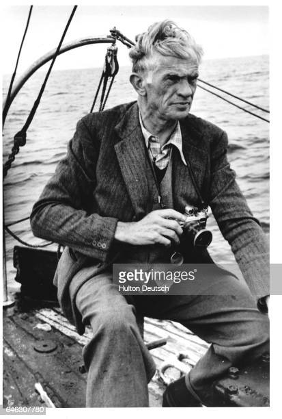 "Picture Post photographer Kurt Hutton visits the area where the cargo ship ""Flying Enterprise"" sank, 1953."