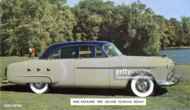 Picture postcard advertisement of a Packard '200' DeLuxe Touring Sedan, 1952.