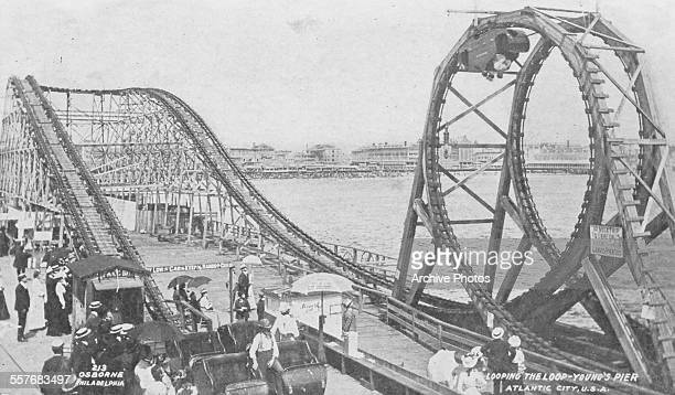 Picture postcard of the 'looping the loop' rollercoaster on Young's Pier in Atlantic City 1902