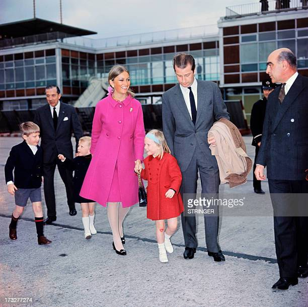 Picture released around 1965 of King Albert II of Belgium and Queen Paola with their children Prince Philippe prince Laurent and Princess Astrid...