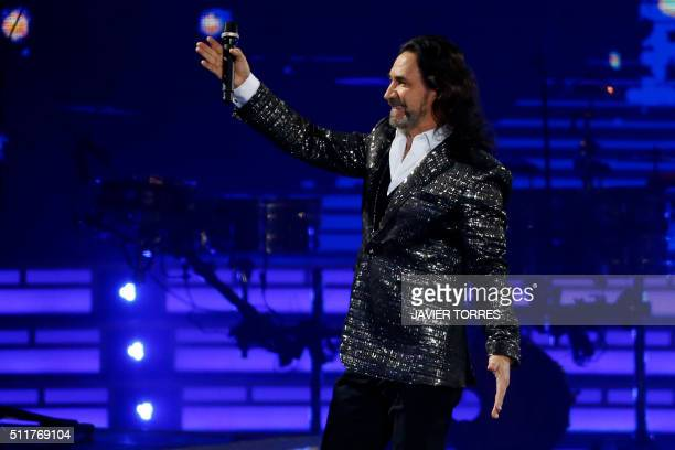 Singer Marco Antonio Solas performs during the opening of the Vina del Mar song festival in Vina del Mar Chile on February 22 2016 AFP PHOTO/ATON...