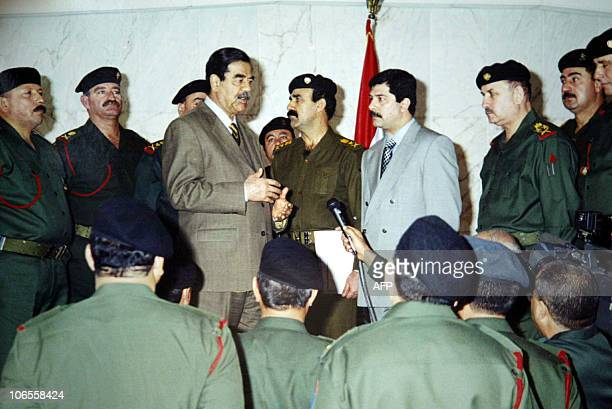 Picture released by Iraq's official news agency INA 07 January 2003 shows President Saddam Hussein speaking to senior officers at the Republican...