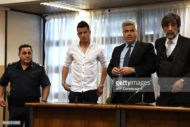 Picture released by Telam showing Argentine footballer Alexis Zarate who currently plays for Argentine first division team Temperley standing in...