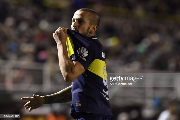 Picture released by Telam showing Boca Juniors' forward Dario Benedetto celebrating after scoring the team's second goal against Olimpo during the...