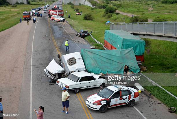 Picture released by Telam taken on January 12 2016 showing an accident in a highway in Juarez Celam department in Cordoba Argentina which involved...