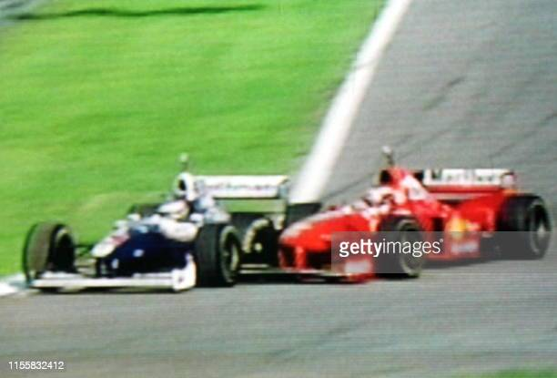 Picture released by the German RTL station showing the incident during the European Grand Prix in Jerez 26 October, where former world champion...