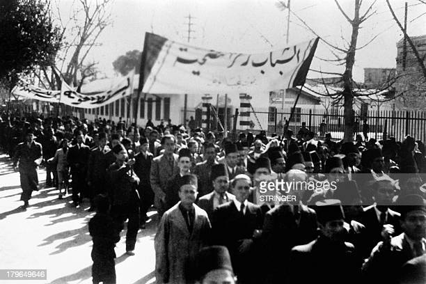 Picture released in 1936 of demonstrators in the streets of Damascus Syria In 1936 after Syrian general strikes protests and riots France and Syria...