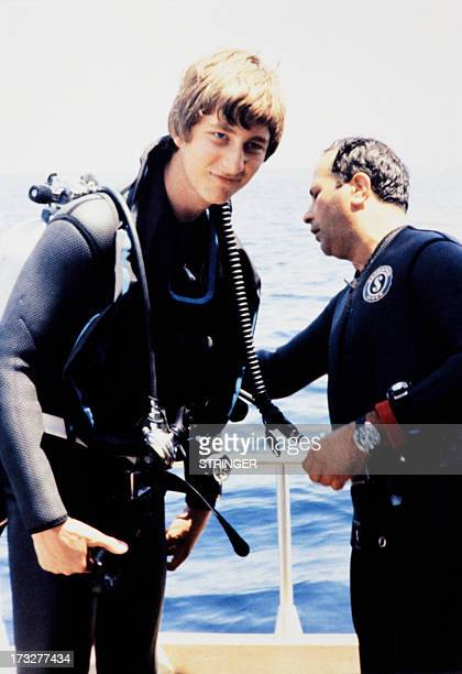 Picture released in 1978 of Crown Prince Philippe of Belgium wearing the deepsea diving outfit Philippe of Belgium is the eldest child and eldest son...