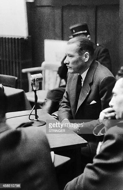 Picture released in February 3 1953 of Michel Kaufmann MP of BasRhin testifying at the trial of the Nazis as members of the Reich 14 were Alsatians...