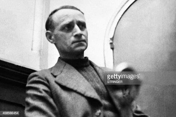 Picture released in January 26 1953 of survivor blacksmith Emile Redon testifying at the trial of the Nazis as members of the Reich 14 were Alsatians...