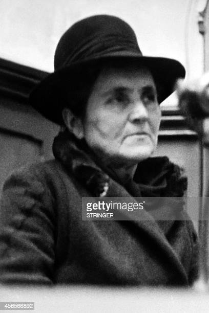 Picture released in January 26 1953 of survivor Mrs Maledent testifying at the trial of the Nazis as members of the Reich 14 were Alsatians accused...