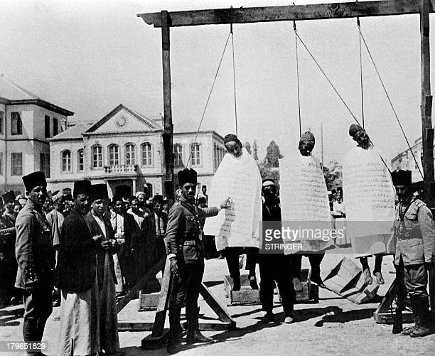 Picture released in the 30s of the execution of 3 suspected murderers of French officers in Damascus as Syria was under French protectorate from 1920...
