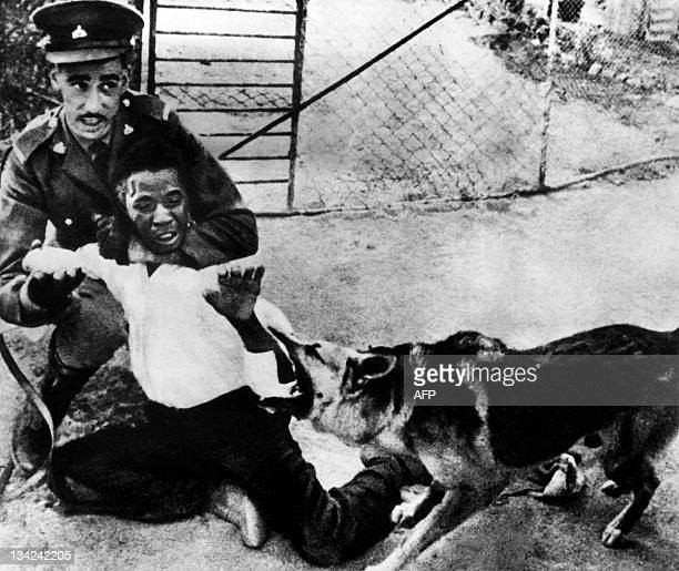 Picture released on 1968 of a British colonial authorities committing barbaric acts against a Rhodesian demonstrator in South Rodhesia former Zimbabwe