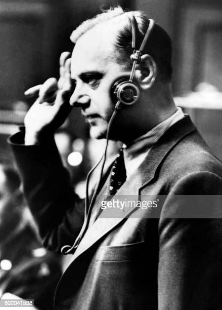 Picture released on April 15 1946 of German theorist ideologue Alfred Rosenberg called the philosopher of the Nazi Party at the Nuremberg courtroom...