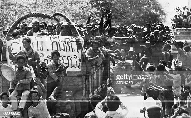 Picture released on April 18 1975 of the joyfull population in Battambang province on the Thai border as the Khmer Rouge entered the capital on April...