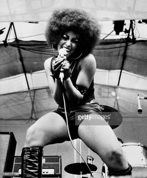 Picture released on August 1969 on the Isle of Wight during the music pop festival of Marsha Hunt US singer novelist actress and model born in 1946...