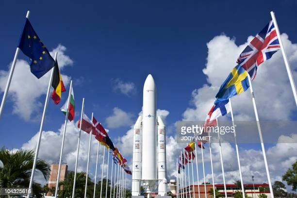Picture released on December 17 2008 of a model of Ariane 5 rocket at the entrance of the Spaceport of Kourou AFP PHOTO JODY AMIET