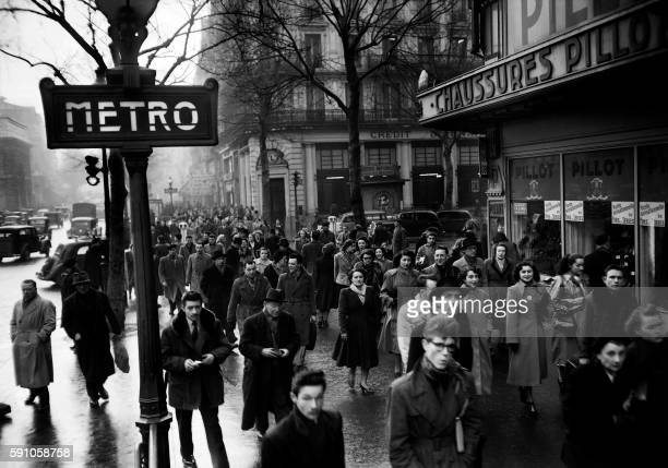 Picture released on February 26 of Parisians walking in the streets of Paris during the RATP public transports strike