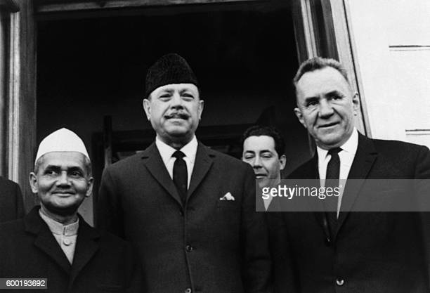 Picture released on January 10 1966 of Prime Minister of India Lal Bahadur Shastri President of Pakistan Muhammad Ayub Khan and Soviet Prime minister...