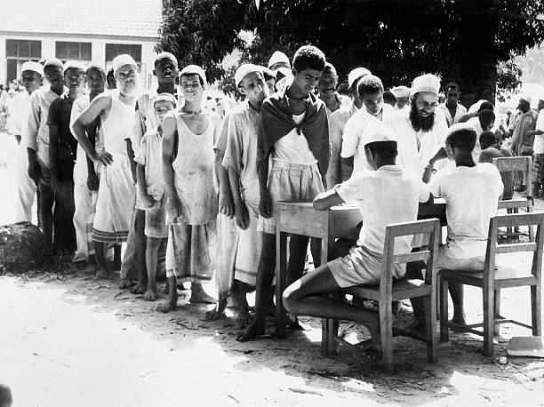 Picture released on January 18 1964 of Arab prisonners being questioned and jailed in camps during the Zanzibar Revolution by local African...