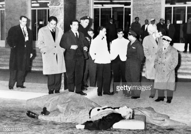 """Picture released on January 26, 1962 of Italian born ganster Charles """"Lucky"""" Luciano lying dead at the Naples-Capodichino airport from a heart attack."""