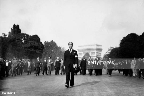 Picture released on July 14 1935 of Colonel François de La Rocque president of the French rightwing league the Croix de Feu on the Elysee avenue...