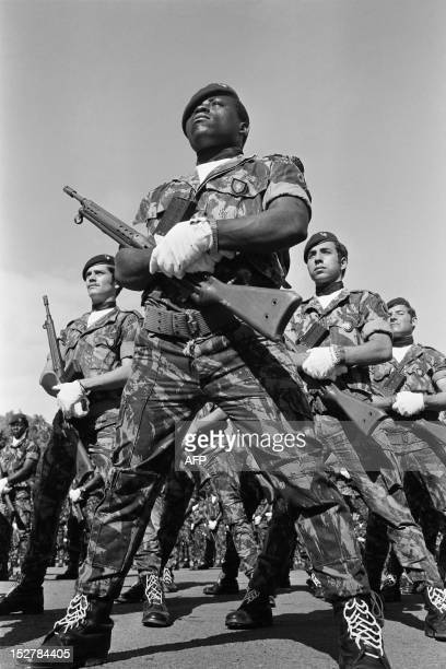 Picture released on July 27 1973 showing special forces of the Portuguese army training at Dondo military camp of Maputo during the Mozambican War of...
