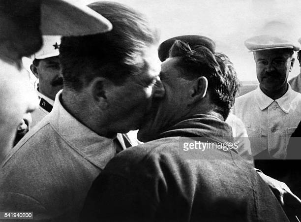 Picture released on July 4 1937 of Joseph Stalin General Secretary of the Central Committee of the Communist Party of the Soviet Union kissing Polar...