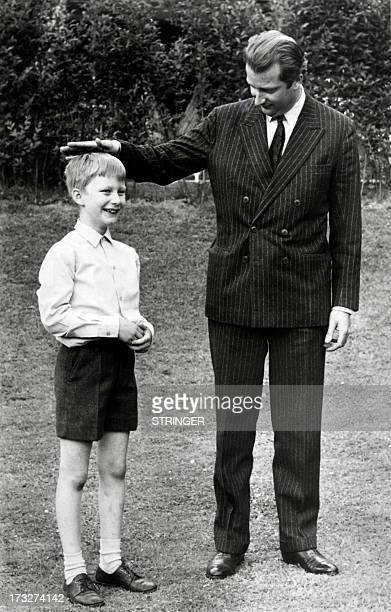 Picture released on June 19 1969 of Crown Prince Philippe of Belgium and his father Albert II of Belgium at Belvédère Castle the private residence of...