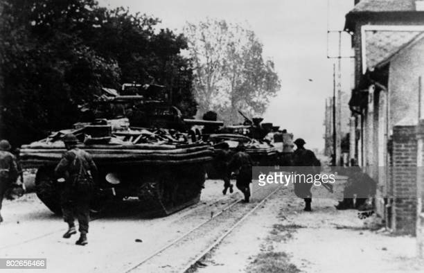 Picture released on June 61944 of the first tanks entering the Sword Beach near Ouistreham during the Normandy landing France