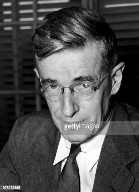 Picture released on June 8 1945 shows US engineer director of the Office of Scientific Research and Development Vannevar Bush