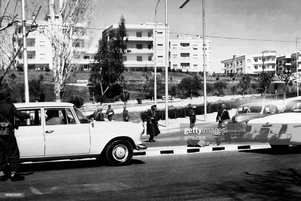 Picture released on March 10, 1963 of soldiers controlling drivers after a putsch by the Military Committee of the Syrian Regional Branch of the Arab Socialist Ba'ath Party, on March 8, 1963, in Damascus.