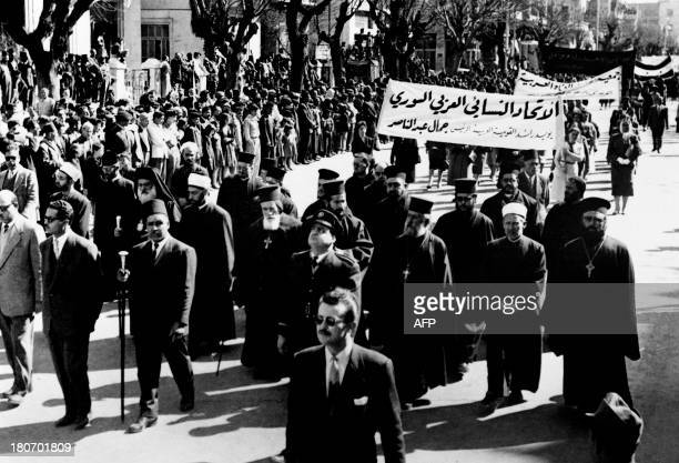 Picture released on March 17 1959 of Syrian Greek Orthodox Clergy and Christian religious dignitary among them Bishop Serious Samneh taking part in...