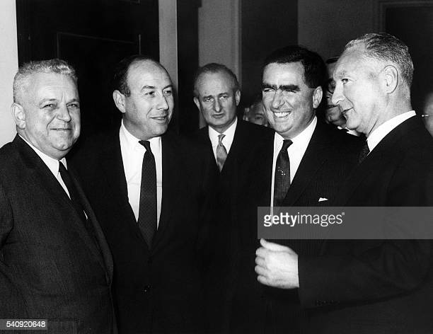Picture released on May 17 1965 shows Marc Jacquet minister of Transport Roy Jenkins aviation minister Denis Healey defence minister and Pierre...