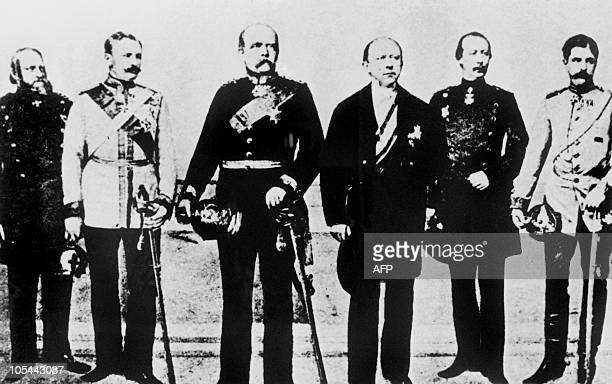 Picture released on November 09 1970 in France of chancelor of Prussia Otto Von Bismarck and officers at the treaty of Versailles for the...