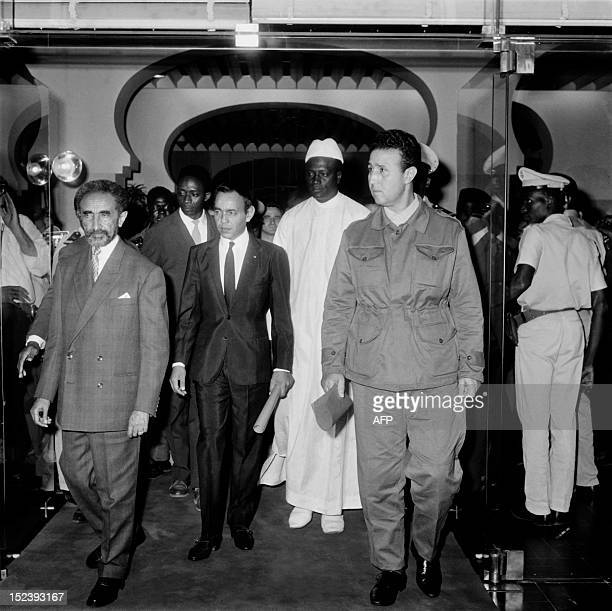 Picture released on October 31 1963 in AddisAbeba of Haile Selassie emperor of Ethiopia and chairman of The Organisation of African Unity Hassan II...