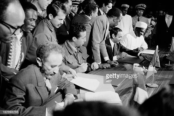 Picture released on October 31 1963of Haile Selassie emperor of Ethiopia and chairman of The Organisation of African Unity Ahmed Ben Bella President...