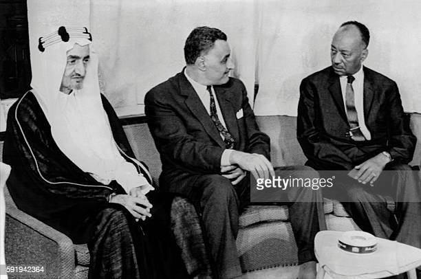 Picture released on September 1 1969 of King Faisal of Saudi Arabia Gamal Abdel Nasser president of Egypt and Muhammad Ahmad Mahgoub Prime Minister...