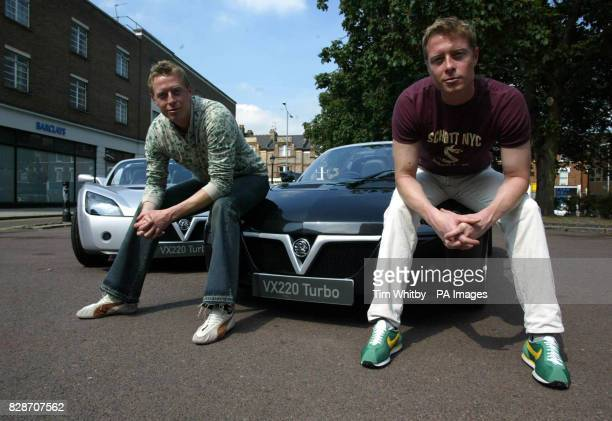 Picture released Thursday 29 May 2003 ot the Matrix Reloaded's 'Evil Twins', actors Neil & Adrian Rayment taking delivery of their new Vauxhall VX220...