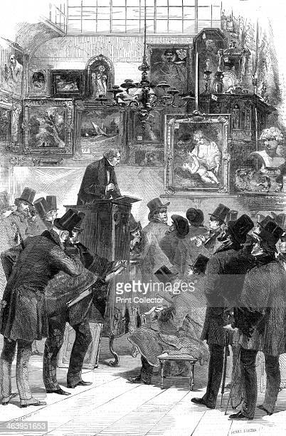 Picture sale at Messrs Christie and Manton's, King Street, St James's, London, 1856. A print from The Illustrated London News, .