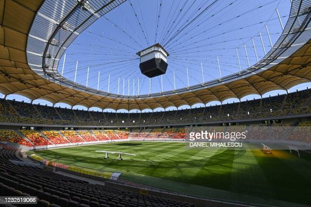 Picture show a general view inside the National Arena stadium, the venue to host four football matches of the UEFA Euro 2020 football tournament, in...