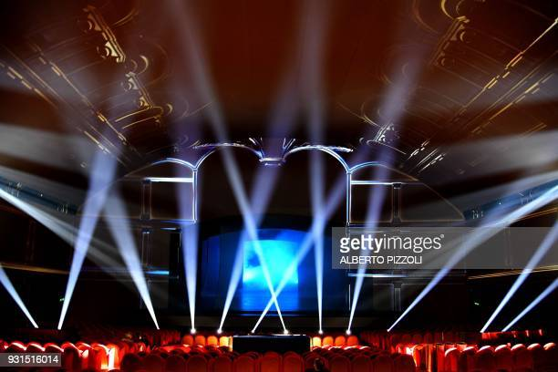 A picture show visual effects during a rehearsal of the show Universal Judgment Michelangelo and the Secrets of the Sistine Chapel directed by Marco...