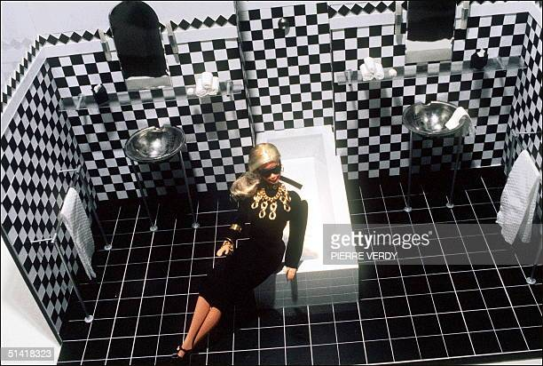 Picture showing a Barbie doll wearing designer clothes taken in Paris 01 January 1989