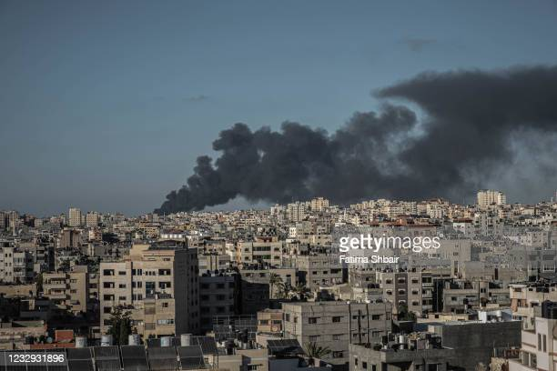 Picture showing a local fire north of Gaza City, along with rockets fired from Gaza to Israel on May 15, 2021 in Gaza City, Gaza. More than 125...