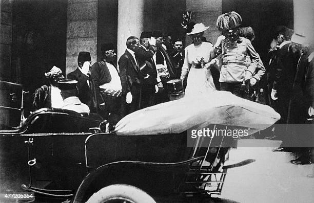 Picture showing Archduke Franz Ferdinand of Austria heir to the throne of the AustroHungarian Empire and his wife leaving the city hall shortly...