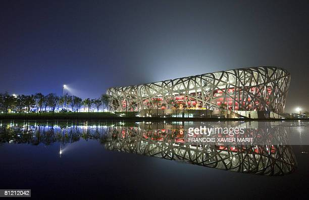 """Picture showing the Beijing National Stadium taken at night on May, 22 2008 in Beijing. The stadium also known as the """"Bird's nest"""" will host the..."""