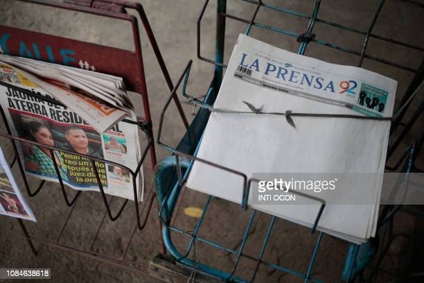 Picture showing the edition of La Prensa which on January 18 2019 published its cover in blank in protest against the refusal by the General...
