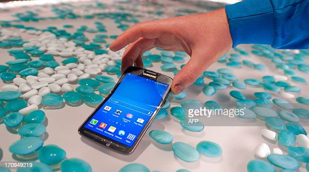 Picture showing the new Samsung S4 Active phone during the world launch of new Samsung Galaxy and Ativ products at Earls Court, London on June 20,...
